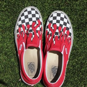 Red Flame/Checkerboard Vans
